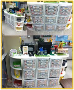 The Resourceful Room!: Classroom Reveal WHAT! The 3 drawer plastic bins fit in the square shelves! Classroom Layout, Classroom Organisation, Teacher Organization, Classroom Design, Kindergarten Classroom, School Classroom, Classroom Decor, Classroom Management, Classroom Supplies
