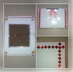 #beautiful #white #brown #card #with #red #white #kundans.  Price - Rs 300/-