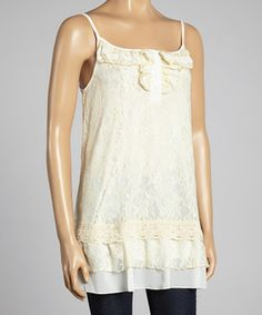 This Beige Lace Camisole - Women by Lady Noiz is perfect! #zulilyfinds