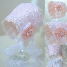 Newborn Silk and Lace Bonnet. Baby Vintage Style by verityisabelle