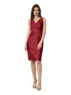 Liancarlo Style 3131. Soft faille sleeveless v-neck cocktail dress in red #cocktail #evening #luncheon #rehearsaldinner #motherofthebride