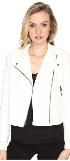 CATHERINE Catherine Malandrino Crepe Moto Jacket (White Star) Women's Coat - CATHERINE Catherine Malandrino, Crepe Moto Jacket, MC600839-113, Apparel Top Coat, Coat, Top, Apparel, Clothes Clothing, Gift, - Fashion Ideas To Inspire