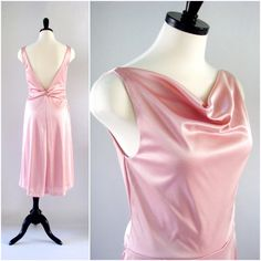 Pink Dress, 1970s Spiegel Dress Backless and Sleeveless with Draped Cowl Neckline in Soft Dusty Pink Size 6