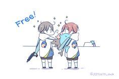 On a winning roll ... Drawn by JUSTIS ... Free! - Iwatobi Swim Club, free!, iwatobi, haruka nanase, haru nanase, haru, nanase, haruka, rin matsuoka, matsuoka, rin