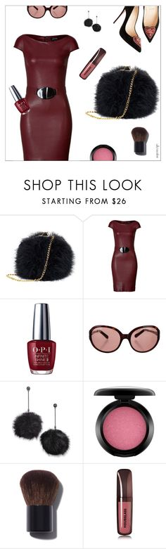 """""""Fluffy Faux"""" by ultracake ❤ liked on Polyvore featuring Jitrois, OPI, Tory Burch, Betsey Johnson, MAC Cosmetics, Chanel, Hourglass Cosmetics, Leather, fashiontrend and fauxfur"""