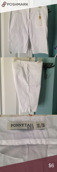 *NWT* Bermuda Shorts NWT white Bermuda shorts that have stretch fit. In excellent condition and from a smoke free home. Ponnytail Shorts Bermudas