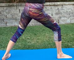"""Feathers and Fur"" Crystal Yoga Pants. Beautiful texture! The print is of a mixture of micro-crystals. #yoga"