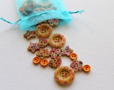 Wooden Buttons Orange Collection  Fabulous by GrannieBunting