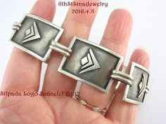 "B1115 Retired Silpada Logo Signature Link Bracelet Sterling Silver 925 7-5/8""L #Silpada #Statement"