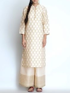 off white with golden printed kurtis