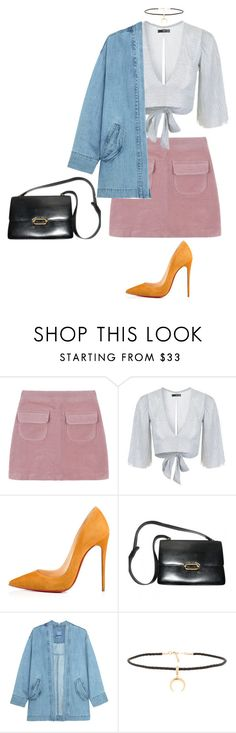 """idk what i'm doing right now / Ur on my mind - DVBBS"" by pgrndjn ❤ liked on Polyvore featuring Topshop, Christian Louboutin, Hermès, Steve J & Yoni P, Joolz by Martha Calvo, Fall, jean, Jeanjacket, velvet and choker"