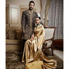 Deepika Ranveer Wedding Photos from Bangalore. Deepika Padukone in gold silk Kanjeevaram and Ranveer Singh in Rohit Bal black floral sherwani. Wedding Dress Men, Indian Wedding Outfits, Indian Outfits, Bridal Dresses, Deepika Ranveer, Ranveer Singh, Deepika Padukone Lehenga, Shraddha Kapoor, Ranbir Kapoor