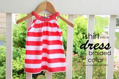 DIY Repurposed adult t-shirt into little girl dress with braided collar:  Step-by-step instructions with pictures...even for someone that doesn't know how to sew. www.makeit-loveit.com