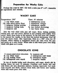 #depression #during #wacky #great #cake #made #the Wacky Cake ...cake made during the Great DepressionYou can find Wacky cake recipe and more on our website.Wacky Cake ...cake made during the Great Depression Wacky Cake Recipe, Cake Recipes, Cake Pans, How To Make Cake, Cocoa, Depression, Website, Baking, Easy Cake Recipes