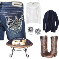 """Fires At Night"" by vault-denim-amber on Polyvore----Cold nights are here and that means one thing; Bonfire season! Stay warm (and look hot) in these Miss Chic jeans with a chunky cardigan, long sleeved shirt, boots and of course a lovely lil bonfire! Find Miss Chic at 14665.vaultdenim.com"