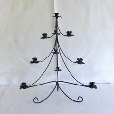 Vintage Black Wrought Iron Christmas Tree by VenerablePastiche