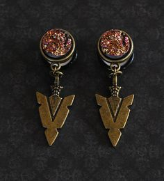 "In the Tribe Pink Druzy Arrowhead Plugs - 2g, 0g, 00g, 7/16"", 1/2"" by ryarr"
