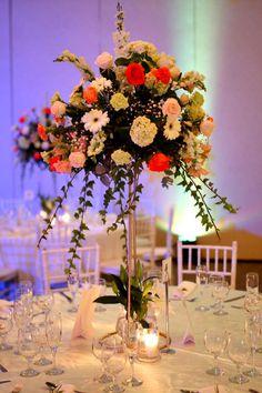 Hermoso centro de mesa para boda.