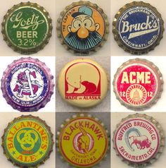 patternbank:    Capped Vintage Graphics – The Bottle Cap Man