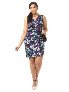 Navy Confetti Ruched Dress by  Triste Available in sizes 0X-5X