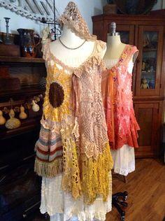 Luv Lucy Crochet Tunic dress Hippy days  by LuvLucyArtToWear, $250.00