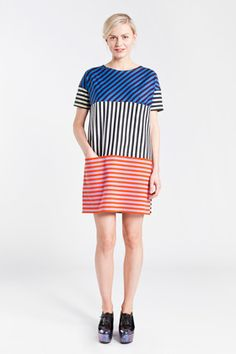 """Platu by Marimekko.  This could be cute as a """"shingle"""" dress.  All in color blocked stripes - maybe short this time."""