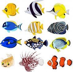 Conjunto de colección de peces tropicales de dibujos animados Vector Premium