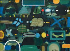 Jan Tarasin (Polish, 1926-2009), Komplikacja II [Complication II], 1991. Oil on canvas, 110 x 140 cm. via jareckiworld