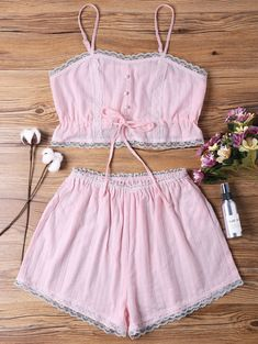 Sleep Short Camisole And Shorts - Pink S Cute Comfy Outfits, Trendy Outfits, Trendy Fashion, Fashion Outfits, Womens Fashion, Bra And Underwear Sets, Bra And Panty Sets, Cute Sleepwear, Lingerie Sleepwear