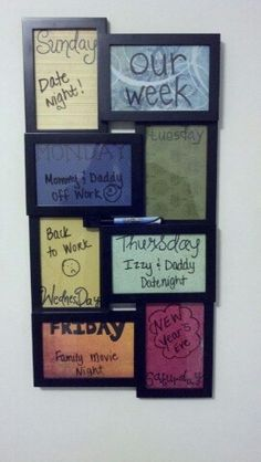 Love this! Take picture frames, use scrapbook paper for background, and dry erase markers to write.
