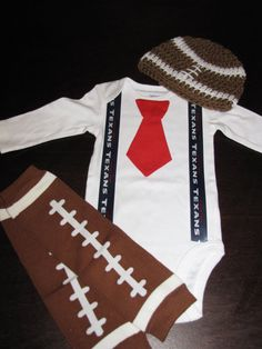 HOUSTON TEXANS inspired football outfit for baby boy - tie bodysuit with suspenders, crochet hat, leg warmers on Etsy, $29.99