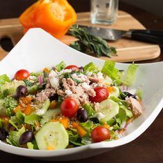 Greek Salad with Tuna and Whole Wheat Couscous. Advocare cleanse recipe ideas! Get your beach body ready, click here! https://www.advocare.com/140111855/24DayChallenge/