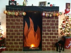 A fireplace, made from painted cardboard boxes, for christmas