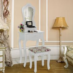 Songmics pretty rose Wall-fixed Dressing Table set 50 x 30 cm (L x W) in Baroque Style with Mirror Stool, 3 Drawers with 2 Dividers RDT30W: Amazon.co.uk: Kitchen & Home