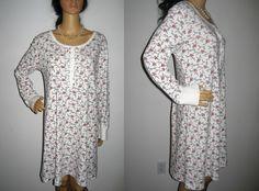 Chic n' Shabby Oscar de la Renta Red White Rose SleepShirt Night Nightgown L #OscardelaRenta #Sleepshirt #Everyday