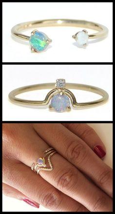 Wwake opal and diamond rings in yellow gold.