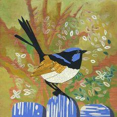Superb Blue Fairy Wren by Fiona Roderick Handmade Market, Blue Fairy, Australian Birds, Creative Artwork, Bird Prints, Print Artist, Collage Art, Collages, Bird Art