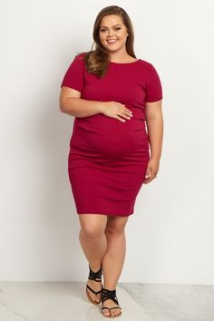 e63a0756e Magenta Fitted Plus Size Maternity Dress Roupas Para Gravidas