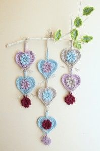 crochet heart wall hanging