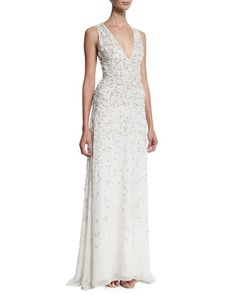 Desirae Sleeveless Deep V-Neck Embellished Gown  by Alice   Olivia at Neiman Marcus.