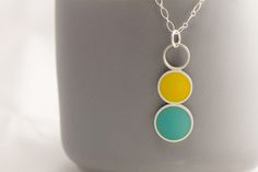 Triple Drop Pendant – Andona Designs Resin Pendant, Pendant Necklace, Sterling Silver Necklaces, Circles, Drop, Jewelry, Design, Jewellery Making, Jewerly