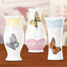 Lenox Butterfly Meadow Small Vases, Set Of 3