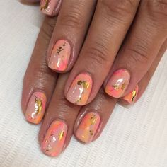 Peachy #watercolor for Brandy  #nails #nailart #peach #sparklesf #naturalnails