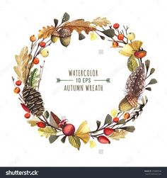 Vector wreath of autumn leaves and fruit in watercolor style. Beautiful round…
