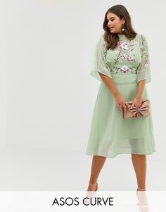 43338290114 DESIGN Curve embroidered high neck 70s midi dress. ASOS. Discover plus size  ...