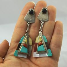 HUGE! Vtg Sterling Silver ZUNI Native American Coral/Turquoise Inlay Earrings 3""