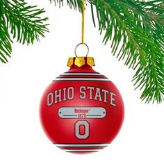 Ohio State Buckeyes Plaque Ball Ornament