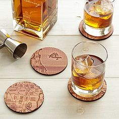 Sewing Gifts For Men Celebrate your favorite locale with these cedar coasters, hand engraved with an urban grid. - Celebrate your favorite locale with these cedar coasters that are etched with snippets of your urban grid. Special Gifts For Him, Unique Gifts For Men, Unusual Gifts, Cool Gifts, Diy Gifts, Map Coasters, Best Wedding Gifts, Anniversary Gifts For Him, Wedding Anniversary