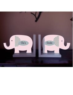 Elephant bookends personalized /pink and gray elephant bookends/elephant nursery on Etsy, $70.04 AUD