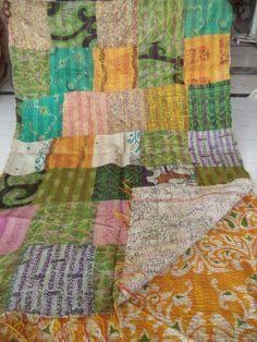 Vintage Kantha Scarf Silk Dupatta Neck Wrap Indian Hand Quilted Veil Boho W 037